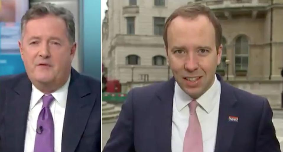 Piers Morgan asked Matt Hancock why he remains health secretary. (ITV/GMB)