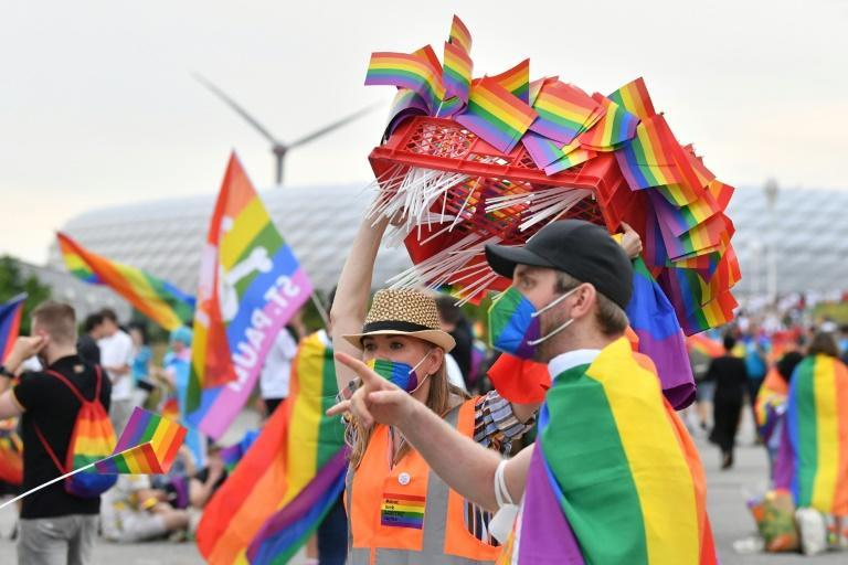 German fans were handing out rainbow flags in Munich ahead of the Euro 2020 clash with Hungary