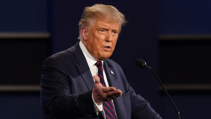 President Donald Trump gestures while speaking during the first presidential debate Tuesday, Sept. 29, 2020, at Case Western University and Cleveland Clinic, in Cleveland, Ohio. (Patrick Semansky/AP)