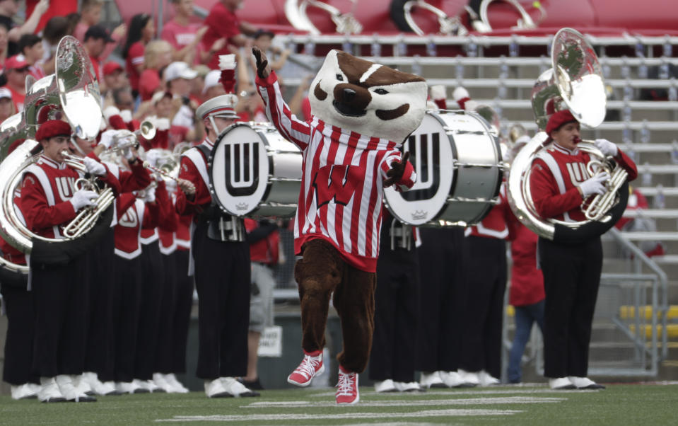 Bucky Badger is seen during the first half of an NCAA college football game between Wisconsin and the Central Michigan Saturday, Sept. 7, 2019, in Madison, Wis. (AP Photo/Morry Gash)