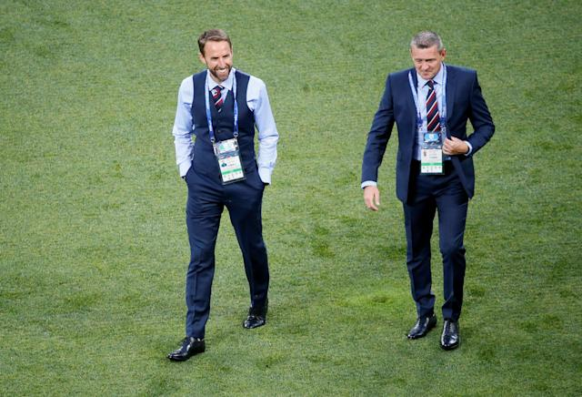 Soccer Football - World Cup - Group G - Tunisia vs England - Volgograd Arena, Volgograd, Russia - June 18, 2018 England manager Gareth Southgate and Under 21's manager Aidy Boothroyd before the match REUTERS/Gleb Garanich