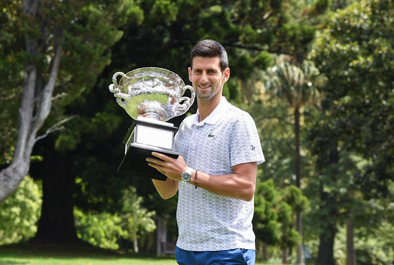Novak Djokovic at a photo call with the Norman Brookes Challenge Cup during the 2020 Australian Open Men's Trophy Media Opportunity at The Royal Botanic Gardens Victoria on February 03, 2020 in Melbourne, Australia.