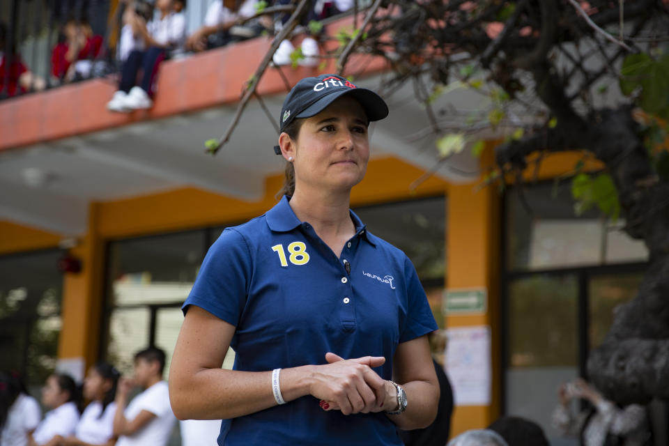 MEXICO CITY, MEXICO - OCTOBER 25: Lorena Ochoa during the Laureus Project visit to Proyecto Cantera on October 25, 2018 in Mexico City, Mexico.(Photo by Carlos Ramirez/Getty Images for Laureus)