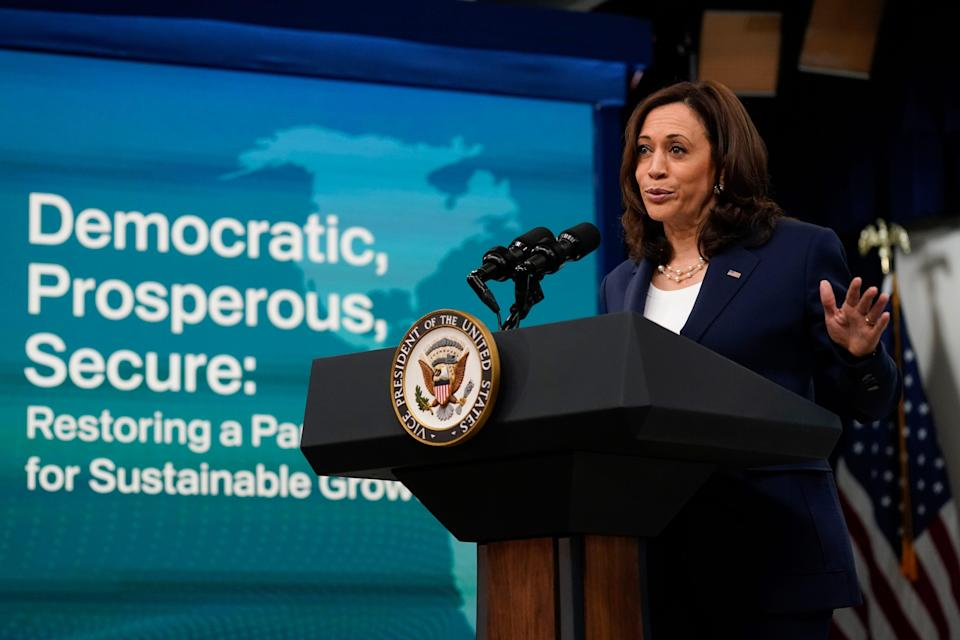 Vice President Kamala Harris delivers remarks to the Washington Conference on the Americas from the South Court Auditorium on the White House campus in Washington, Tuesday, May 4, 2021.