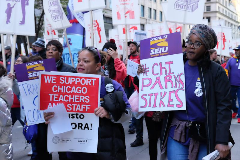 Members of CTU and SEIU march in downtown Chicago on Oct. 14, 2019.