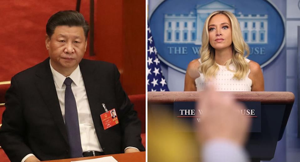 Chinese president Xi Jinping and White House press secretary Kayleigh McEnany pictured.