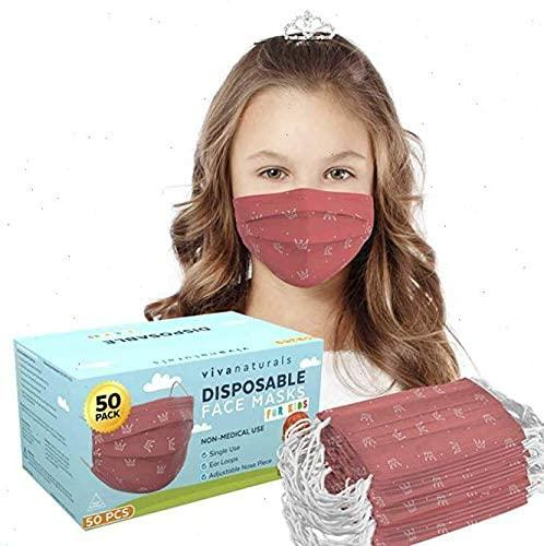 Non-Medical Kids Mask with Pink Crowns. Image via Amazon.