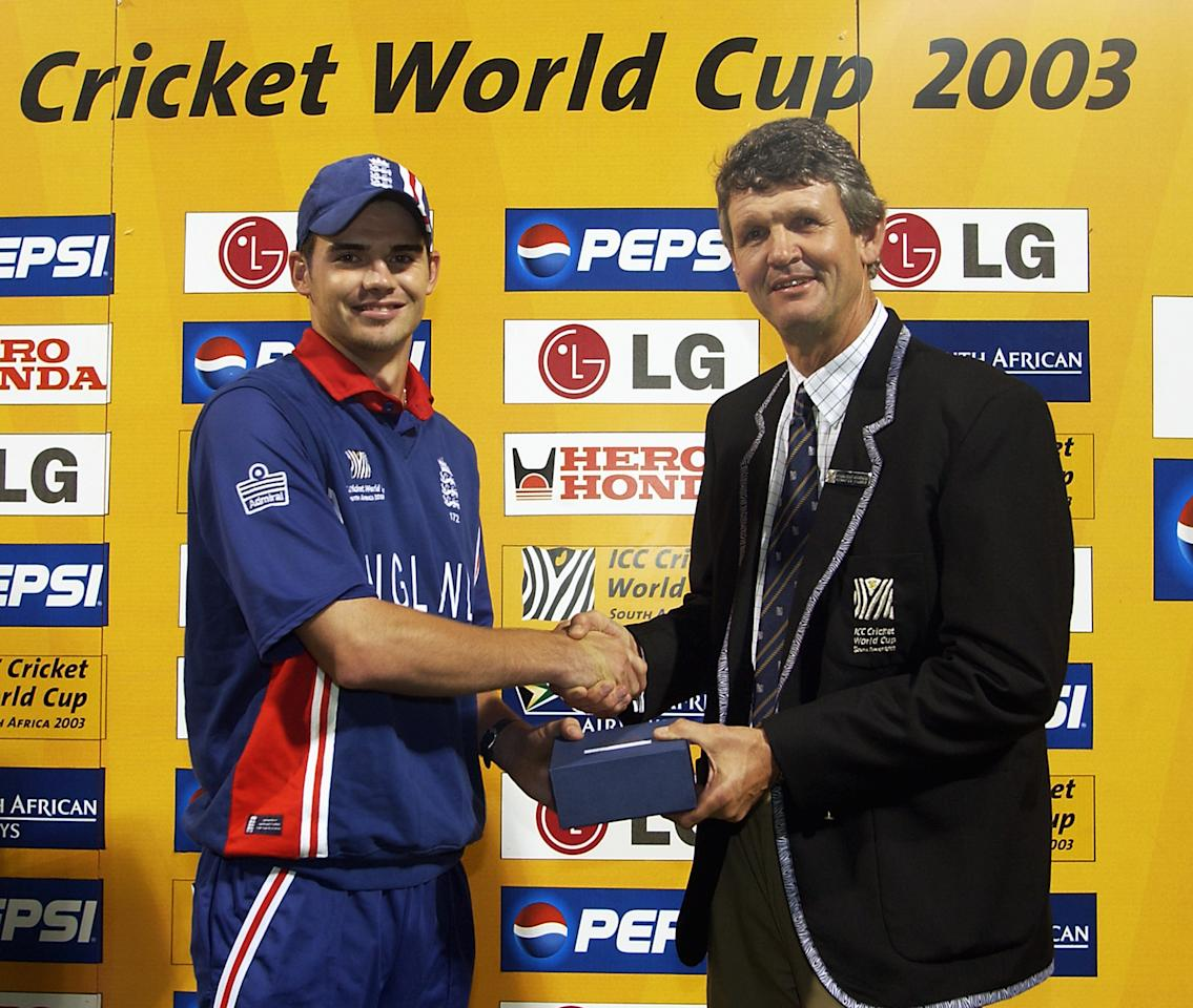CAPE TOWN - FEBRUARY 22:  James Anderson of England receives his man of the match award after the ICC Cricket World Cup 2003, Pool A match between England and Pakistan at Newlands, Cape Town, South Africa on February 22, 2003. (Photo by Tom Shaw/Getty Images)