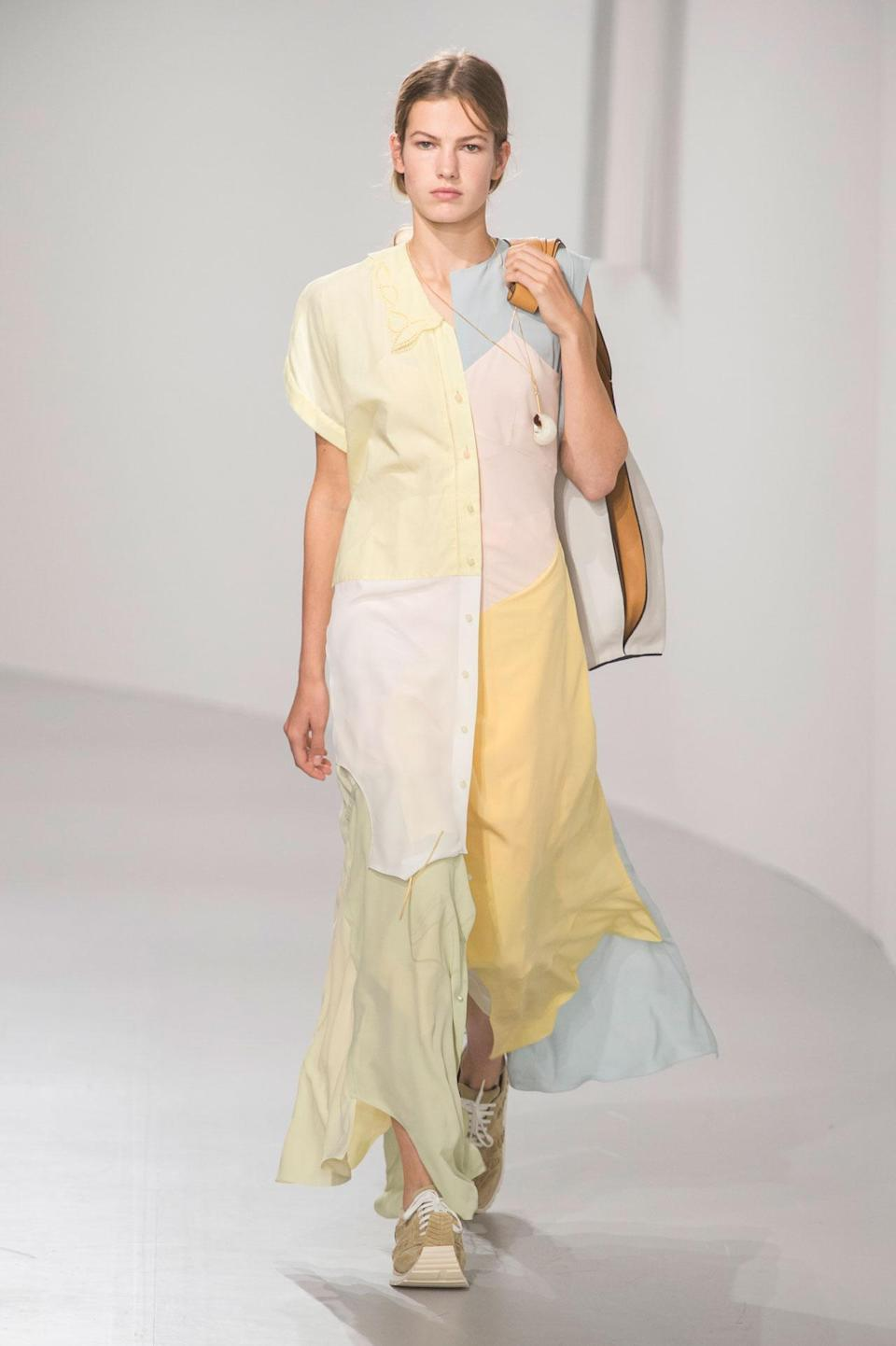 <p>Color block pastel yellow, blue, and pink maxi dress from the SS18 Loewe collection. (Photo: ImaxTree) </p>