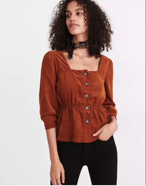"""<p><strong>Madewell</strong></p><p>madewell.com</p><p><strong>$82.00</strong></p><p><a href=""""https://go.redirectingat.com?id=74968X1596630&url=https%3A%2F%2Fwww.madewell.com%2Fcorduroy-button-front-peplum-top-MA874.html&sref=https%3A%2F%2Fwww.marieclaire.com%2Ffashion%2Fg35279033%2Fmadewell-secret-stock-sale-january-2021%2F"""" rel=""""nofollow noopener"""" target=""""_blank"""" data-ylk=""""slk:Shop Now"""" class=""""link rapid-noclick-resp"""">Shop Now</a></p><p>$82 $34.97 (57% off)</p>"""
