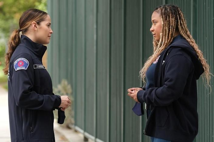 "Jaina Lee Ortiz, left, and Tracie Thoms in ""Station 19"" on ABC."