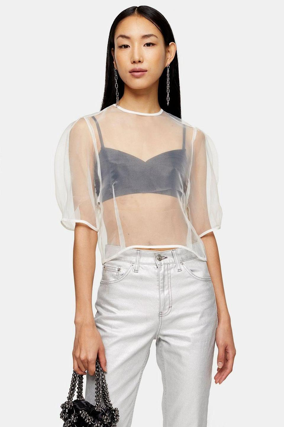 "<p><strong>Topshop</strong></p><p>topshop.com</p><p><strong>$11.00</strong></p><p><a href=""https://go.redirectingat.com?id=74968X1596630&url=https%3A%2F%2Fus.topshop.com%2Fen%2Ftsus%2Fproduct%2Fivory-organza-cocoon-top-9447539&sref=https%3A%2F%2Fwww.cosmopolitan.com%2Fstyle-beauty%2Ffashion%2Fg34992845%2F2021-fashion-trends%2F"" rel=""nofollow noopener"" target=""_blank"" data-ylk=""slk:Shop Now"" class=""link rapid-noclick-resp"">Shop Now</a></p><p>Show off your cutest bralette with an organza blouse like this one from Topshop. </p>"