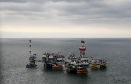 An oil platform operated by Lukoil company is seen at the Filanovskogo oil field in Caspian Sea