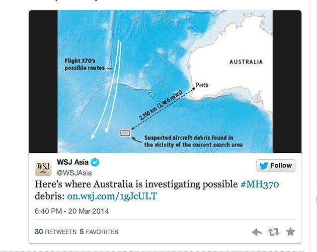 This is a graphic by the Wall Street Journal of Australia's search efforts. Photo: Twitter