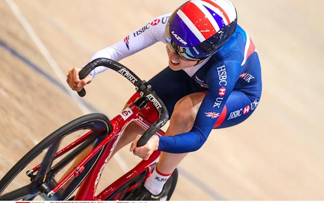 <span>Elinor Barker is competing in the points race and madison in Hong Kong</span> <span>Credit: SWpix.com/REX/Shutterstock </span>