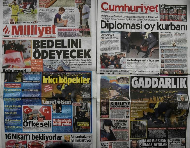 The case against Turkey's oldest national daily, Cumhuriyet (top right), has intensified concerns about press freedom under President Recep Tayyip Erdogan