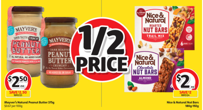 Peanut butter and nut bars selling for half-price at Coles.