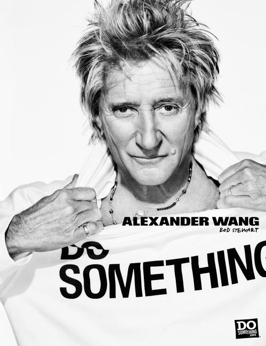 Rod Stewart in the Alexander Wang x DoSomething T-shirt