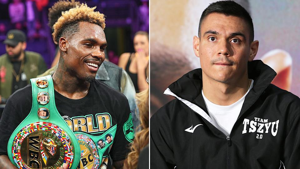 Pictured here, rival boxers Jermell Charlo and Tim Tszyu.