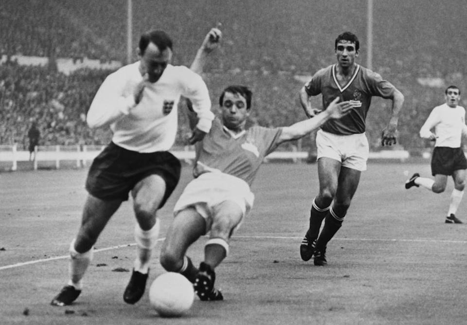 Jimmy Greaves, left, playing for England against France at Wembley Stadium during the 1966 World Cup.