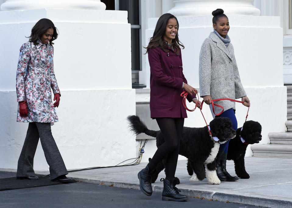 FILE - In this Nov. 28, 2014, file photo first lady Michelle Obama, left, follows her daughters Malia Obama, center, and Sasha Obama, as they arrive to welcome the Official White House Christmas Tree to the White House in Washington. Malia Obama has Bo on a leash and Sasha Obama has Sunny on a leash. Former President Barack Obama's dog, Bo, died Saturday, May 8, 2021, after a battle with cancer, the Obamas said on social media. (AP Photo/Susan Walsh, File)