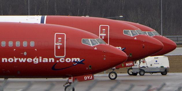 Parked Boeing 737-800 aircraft belonging to budget carrier Norwegian Air at Stockholm Arlanda Airport, Sweden, on March 6, 2015. Norwegian Air plans to launch flights between Canada and Europe this summer.
