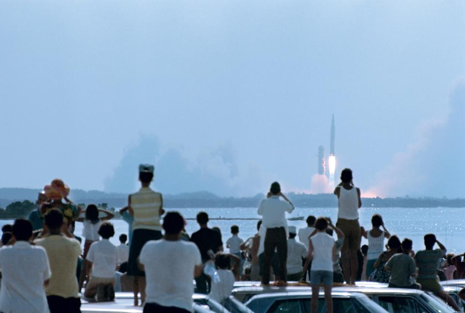View over the heads of spectators of the launch of NASA's Apollo 11 space mission, Cape Kennedy (later Cape Canaveral), Florida, July 16, 1969. (Photo: Ralph Crane/The LIFE Picture Collection via Getty Images/Getty Images)