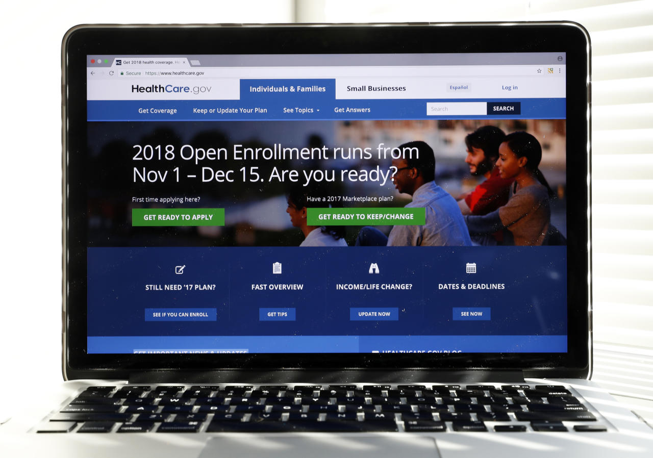<p> In this Oct. 18, 2017 photo, the Healthcare.gov website is seen on a computer screen in Washington. Consumers are getting the word that taxpayer-subsidized health plans are widely available for next year for no monthly premium, and marketing companies say they're starting to see an impact on sign-ups. (AP Photo/Alex Brandon)