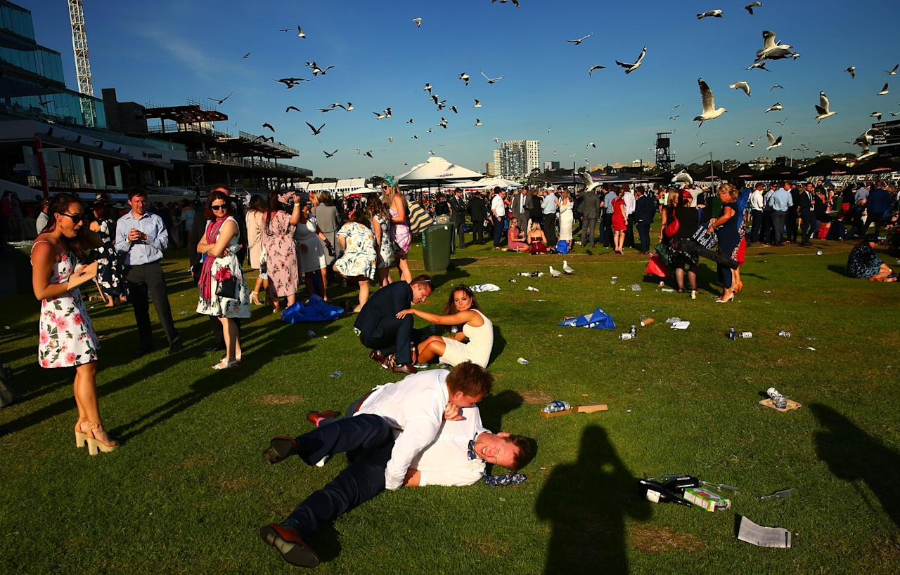 <p>Day drinking, gambling and a tad too much euphoria can be a messy combination, as racegoers at Flemington's Oaks Day discovered on Thursday.</p>