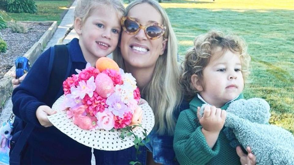 Pictured here, Phoebe Burgess with the two kids she shares with ex-husband Sam.