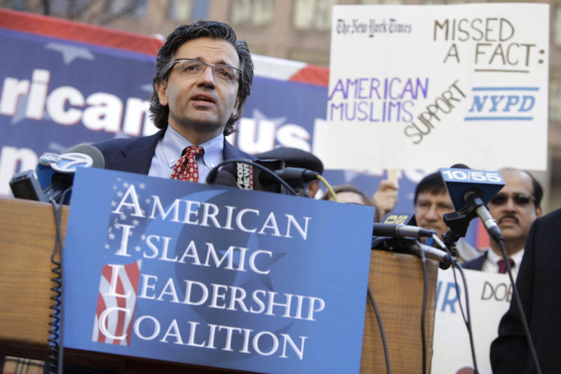 Zuhdi Jasser speaks during a news conference in front of police headquarters in New York, Monday, March 5, 2012. Jasser was there with dozens of activists to demonstrate their support for the NYPD and their surveillance of Muslim groups across the Northeast. (AP Photo/Seth Wenig)