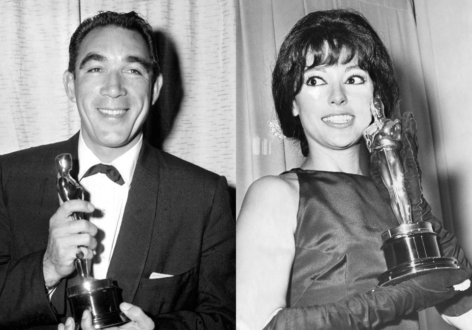 """Anthony Quinn poses with his Oscar award for best supporting actor for his role in """"Lust for Life"""" at the Academy Awards in Los Angeles on March 27, 1957, left, and Rita Moreno holds the best supporting actress Oscar she won for her role in """"West Side Story"""" at the Academy Awards in Santa Monica, Calif on April 9, 1962. (AP Photo)"""