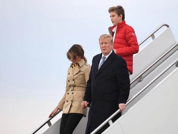 US President Donald Trump with First Lady Melania Trump and their son Barron Trump