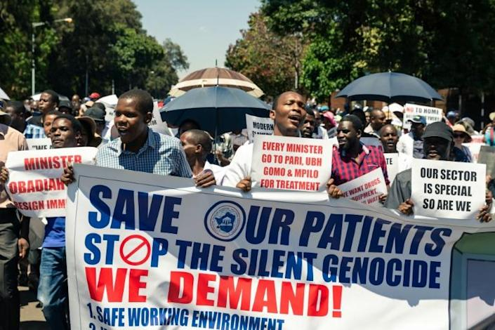 A protest march by doctors in Harare last December over the state of Zimbabwe's health service. The situation has become calamitous with the arrival of COVID-19, say experts