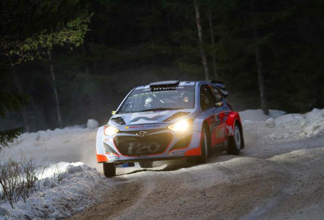Belgium's Thierry Neuville drives his Hyundai i20 WRC during the shakedown of Rally Sweden 2014, in Hagfors February 5, 2014. REUTERS/Micke Fransson/TT News Agency (SWEDEN - Tags: SPORT MOTORSPORT) FOR EDITORIAL USE ONLY. NOT FOR SALE FOR MARKETING OR ADVERTISING CAMPAIGNS. THIS IMAGE HAS BEEN SUPPLIED BY A THIRD PARTY. IT IS DISTRIBUTED, EXACTLY AS RECEIVED BY REUTERS, AS A SERVICE TO CLIENTS. SWEDEN OUT. NO COMMERCIAL OR EDITORIAL SALES IN SWEDEN. NO COMMERCIAL SALES