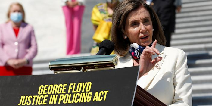 House Speaker Nancy Pelosi (D-CA) speaks during a press event ahead of vote on the George Floyd Justice in Policing Act of 2020 on the East Front House Steps on Capitol Hill in Washington, U.S., June 25, 2020. REUTERS/Yuri Gripas