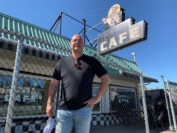 Dennis Springenatic says the pandemic has hit his Surrey restaurant hard, particularly after the most recent restrictions on indoor dining.   (Jon Hernandez/CBC - image credit)