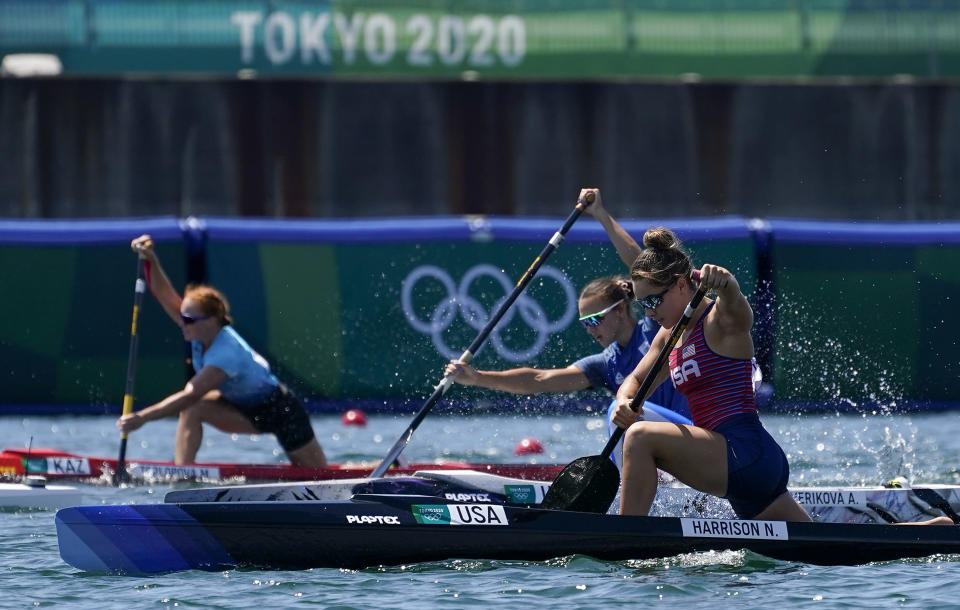 Nevin Harrison of the United States competes in the women's canoe single 200m heat at the 2020 Summer Olympics, Wednesday, Aug. 4, 2021, in Tokyo, Japan. (AP Photo/Darron Cummings)
