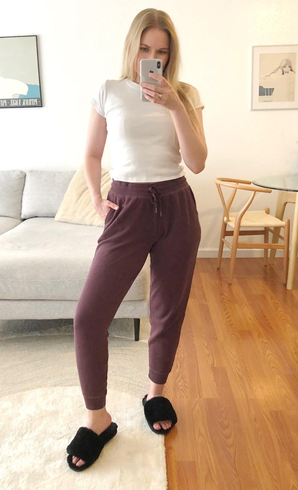 """<p><span>Old Navy Mid-Rise Tapered-Leg Jogger Pants</span> ($28, originally $30)</p> <p>""""My apartment doesn't have air conditioning and can get really hot in the afternoon, but I like staying cozy in my sweats. While all my other options are too fluffy and hot, these ones are just right. The next best thing about them is that they're actually stylish and presentable to leave the house in. If I have to run an errand to grab something at the store, they actually look cute with <a href=""""https://www.popsugar.com/fashion/Best-Women-Sneakers-44311634"""" class=""""link rapid-noclick-resp"""" rel=""""nofollow noopener"""" target=""""_blank"""" data-ylk=""""slk:some sneakers"""">some sneakers</a> and a denim jacket. I have them in a cute maroon shade, but they come in over 10 color choices and fun patterns."""" - Krista Jones, associate editor, Shop</p>"""