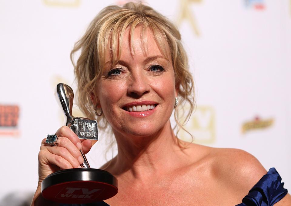 MELBOURNE, AUSTRALIA - MAY 02:  TV personality Rebecca Gibney poses with the Silver Logie for most popular female in the 52nd TV Week Logie Awards room at Crown Casino on May 2, 2010 in Melbourne, Australia.  (Photo by Ryan Pierse/Getty Images)