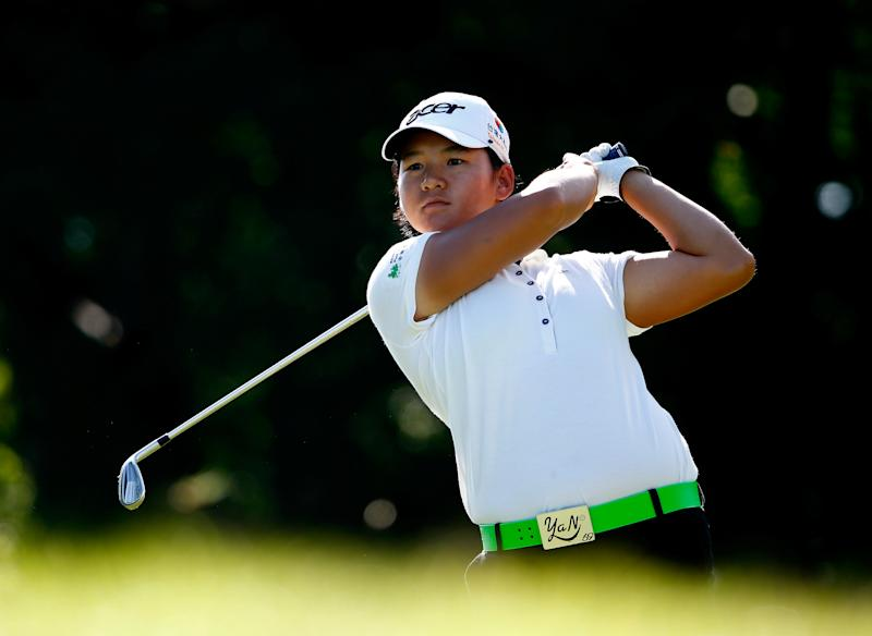 Tseng Ya-ni of Taiwan plays a shot on the third hole during the first round of the Walmart NW Arkansas Championship Presented by P&G at the Pinnacle Country Club on June 27, 2014 in Rogers, Arkansas