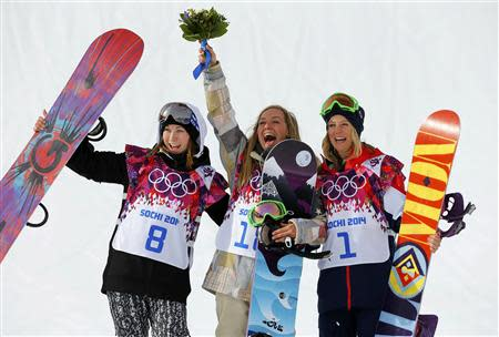From L-R: Finland's Enni Rukajarvi, Jamie Anderson of the U.S., Britain's Jenny Jones react after the women's slopestyle snowboarding competition at the 2014 Sochi Olympic Games in Rosa Khutor February 9, 2014. REUTERS/Mike Blake