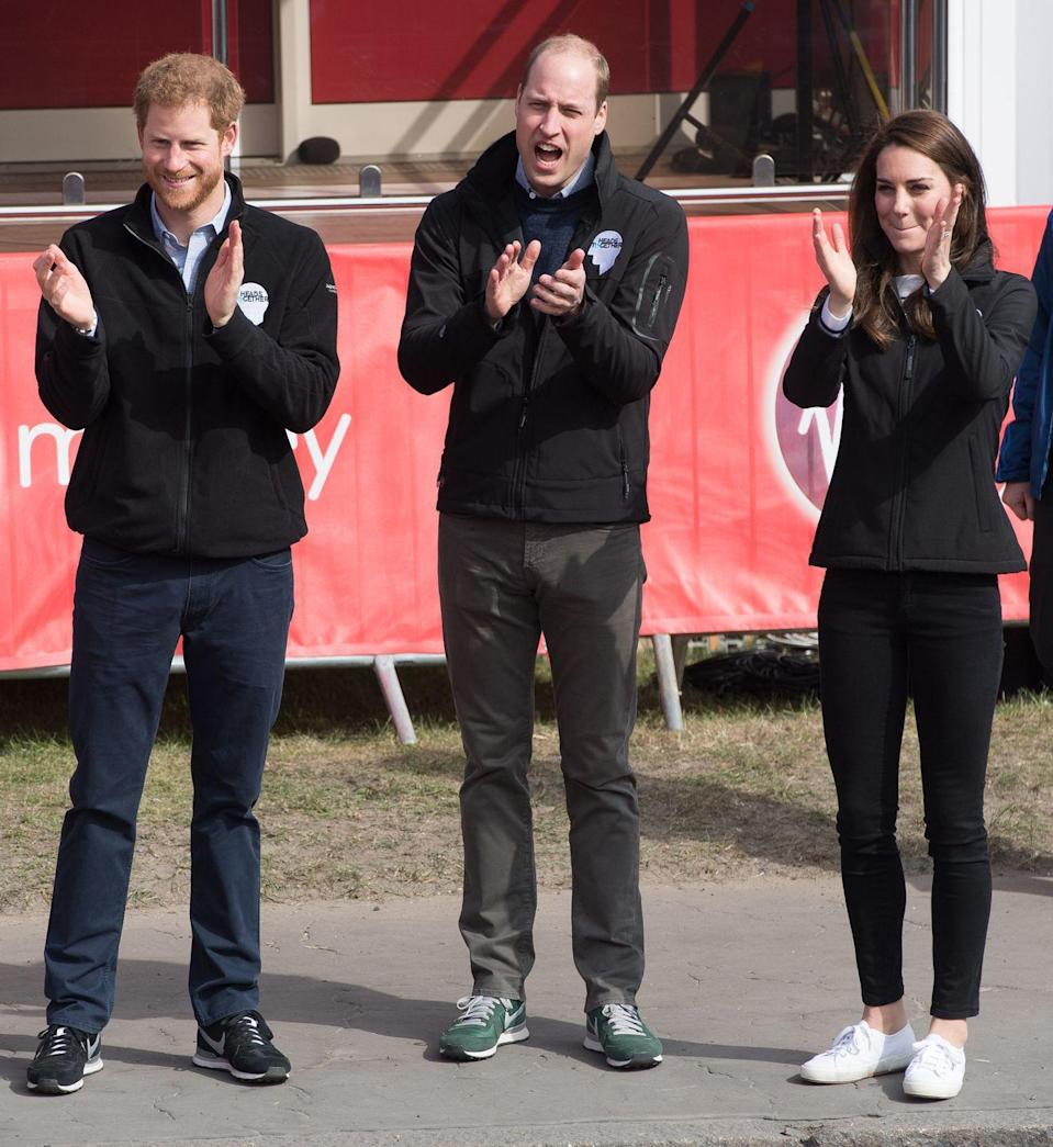 <p>Prince Harry joined the Duke and Duchess of Cambridge as they cheered on runners at the London Marathon in April 2017. </p>