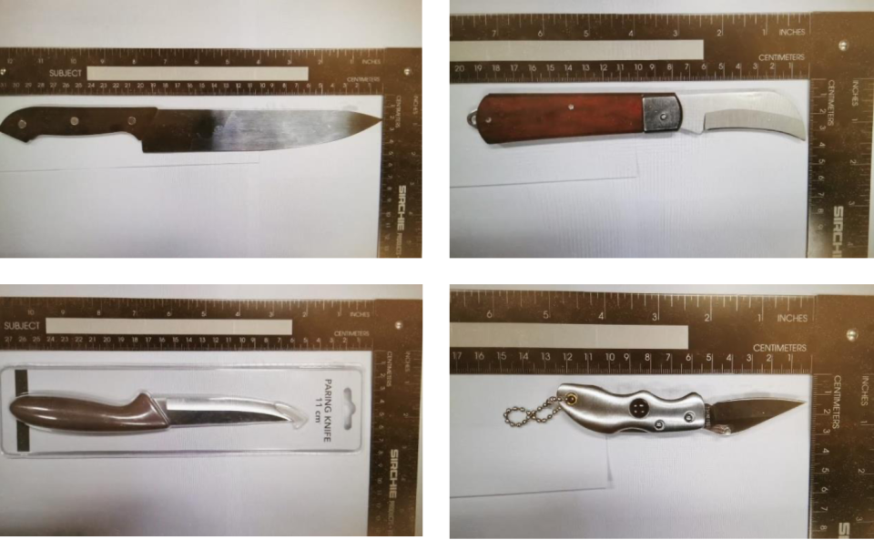 Images of selected knifes and blades recovered from Ahmed Faysal. (PHOTOS: MHA)