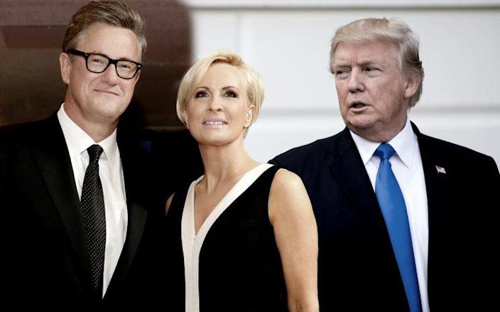 MSNBC's Joe Scarborough and Mika Brzezinski, Donald Trump. (Photos: Jonathan Ernst/Reuters, Cheriss May/NurPhoto via Getty Images)