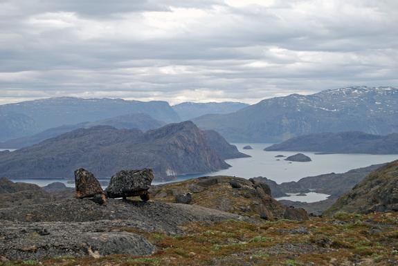 An ancient landscape near Upernavik, Greenland. Rocks on these highland surfaces are crumbly, break into sheets and show little evidence of glacial erosion.