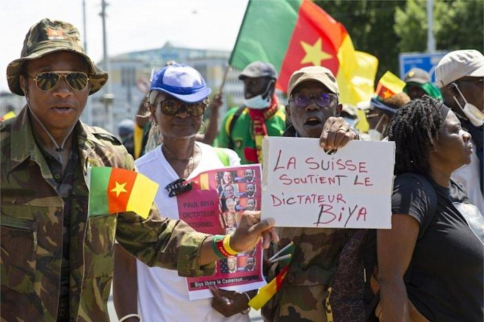 Opponents of Cameroonian President Paul Biya are protesting against his presence in Geneva, Switzerland.