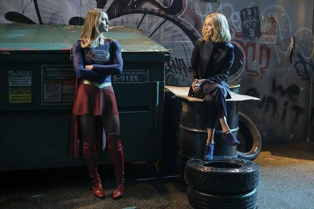 Melissa Benoist as Kara/Supergirl and Calista Flockhart as Cat Grant in The CW's Supergirl. (Photo: Robert Falconer/The CW)