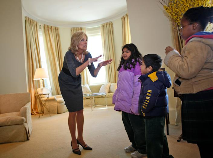Jill Biden gives a tour of the house to elementary school children from across the D.C. area in 2009.