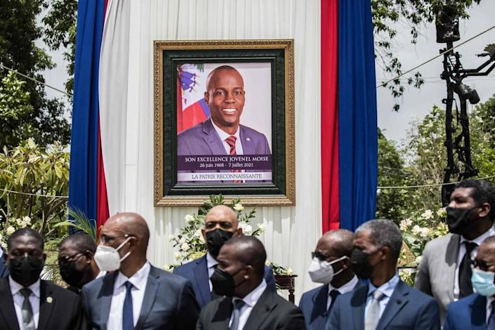 Officials attend a ceremony in honor of the late Haitian President Jovenel Moise in Port-au-Prince, Haiti, on July 20, 2021. The ceremony comes as designated Prime Minister Ariel Henry prepared to replace interim Prime Minister Claude Joseph, after the July 7 attack at Moïse's private home.
